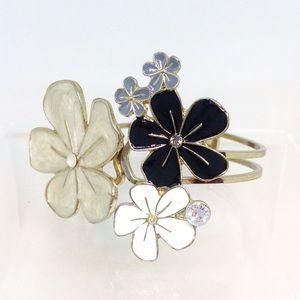 Beautiful Enameled Floral Cuff Bracelet Silvertone